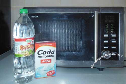 как отмыть микроволновку внутри уксусом и содой